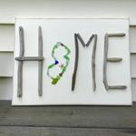 12x14 Jersey Home Sign made of driftwood and sea glass