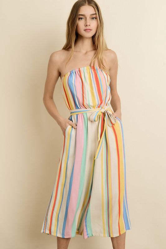 Rainbow Stripe Tube Jumpsuit