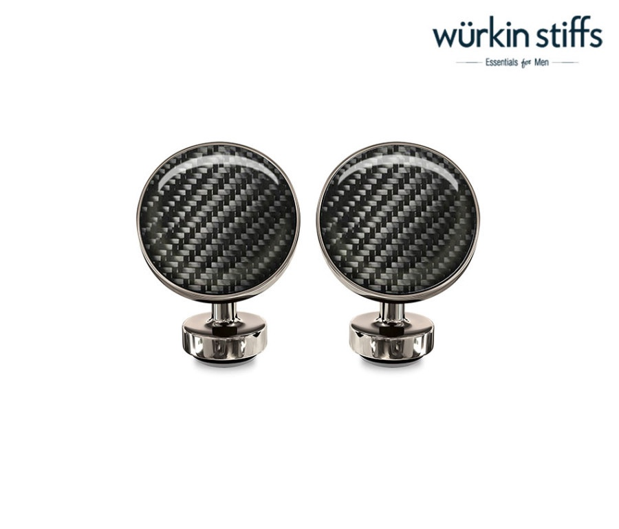 WURKIN STIFFS - CIRCLE CUFFLINKS IN DARK CARBON
