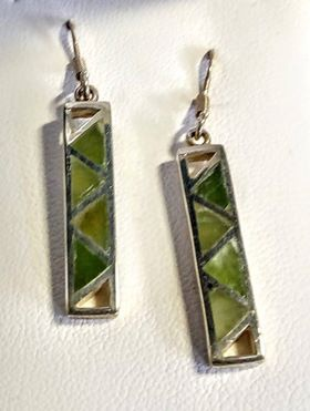 Greenstone & Silver Rectangle Earrings