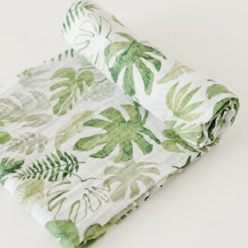 Cotton Muslin Swaddle | Tropical Leaf