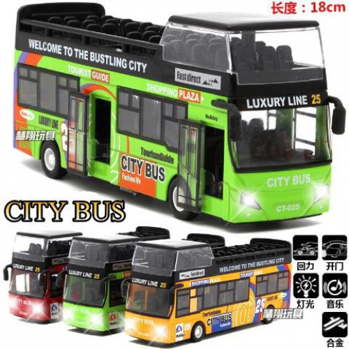 DIE CAST LIGHT & SOUND PULL BACK ACTION DOUBLE DECKER BUS