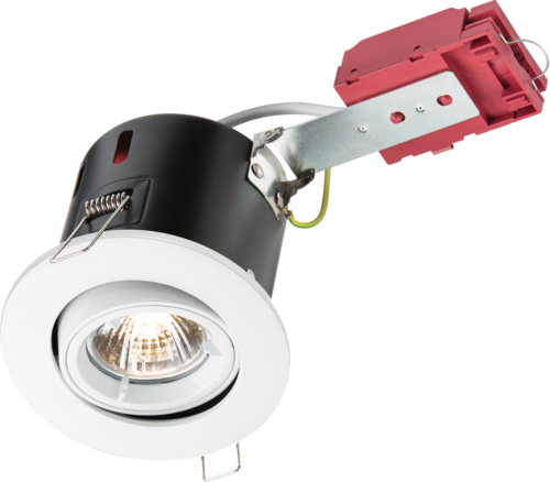230V IP20 50W GU10 IC Fire-Rated Tilt Downlight White