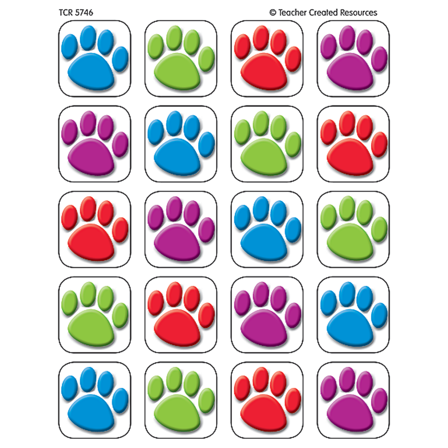 TCR 5746 COLORFUL PAW PRINT STICKERS