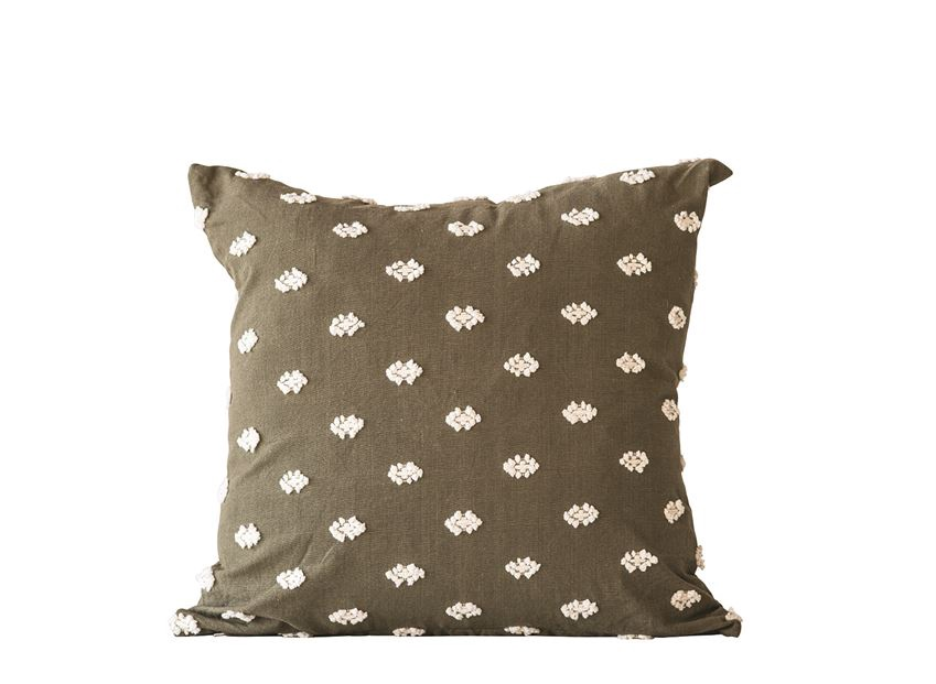 Embroidered Olive Green Pillow
