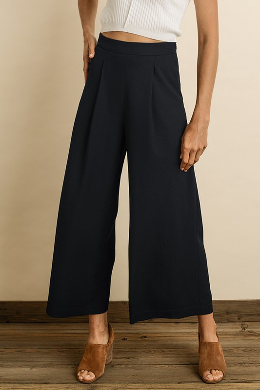 Pleated Cropped Pants / Navy