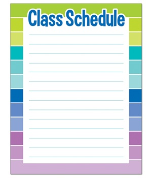 CTP 1128 PAINTED PALETTE CLASS SCHEDULE CHART
