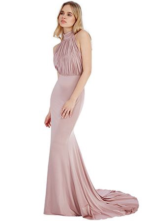Floor Length Gown - Rose Halter Neck Fishtail Maxi Dress, NEW