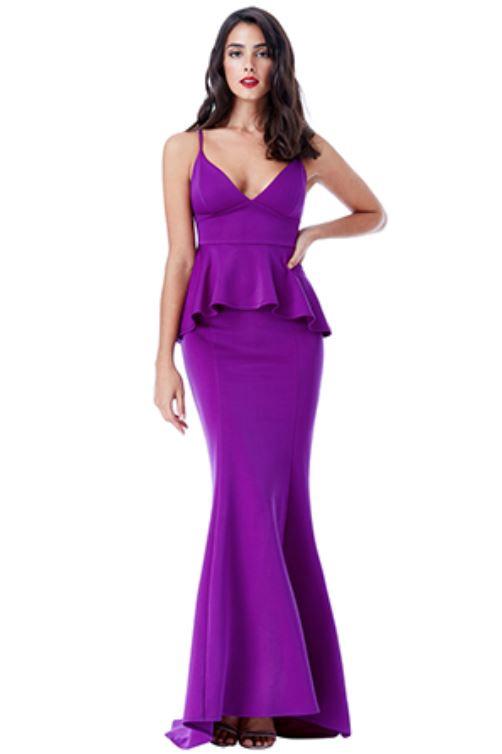 Floor Length Gown - Purple V Neck Peplum Maxi Dress, NEW