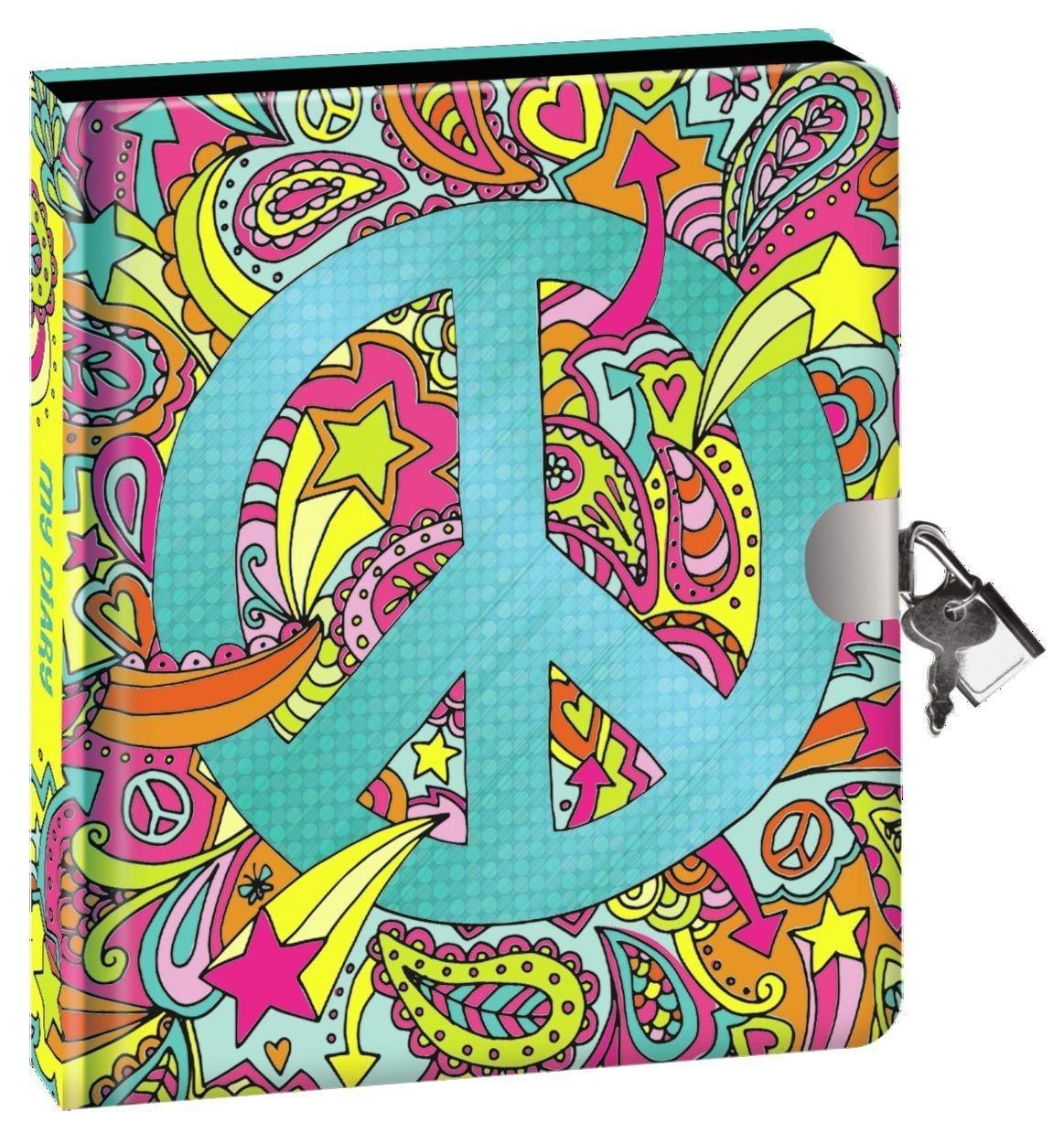 PEACE SIGN LOCK & KEY DIARY