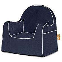 LITTLE READER CHAIR NAVY WITH WHITE PIPING