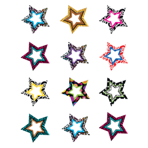 X TCR 5216 COLORFUL STARS MINI CUTOUTS