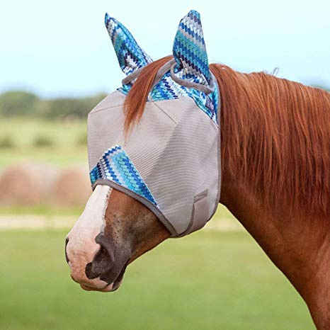 Cashel Standard Fly Mask with Ears Blue Zig Zag