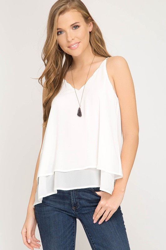 Wht Layered Tank w Scallop V