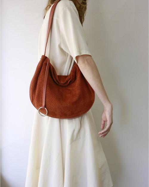 Craie Large Round Handbag - Bille Perfo Woody