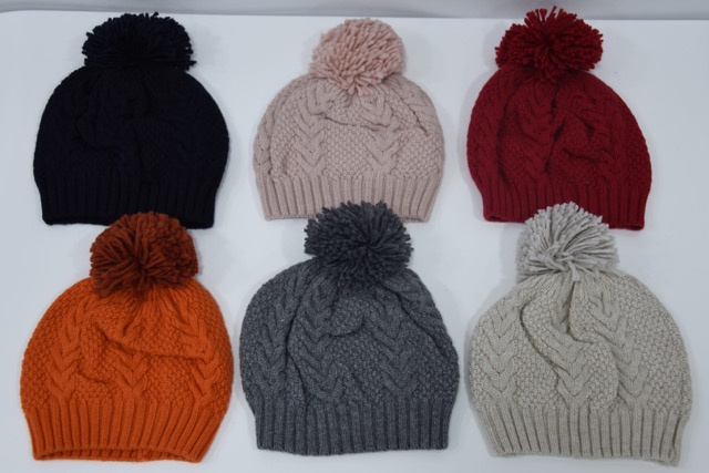 Cable Knit Cashmere Bobble Hat by Top Marks