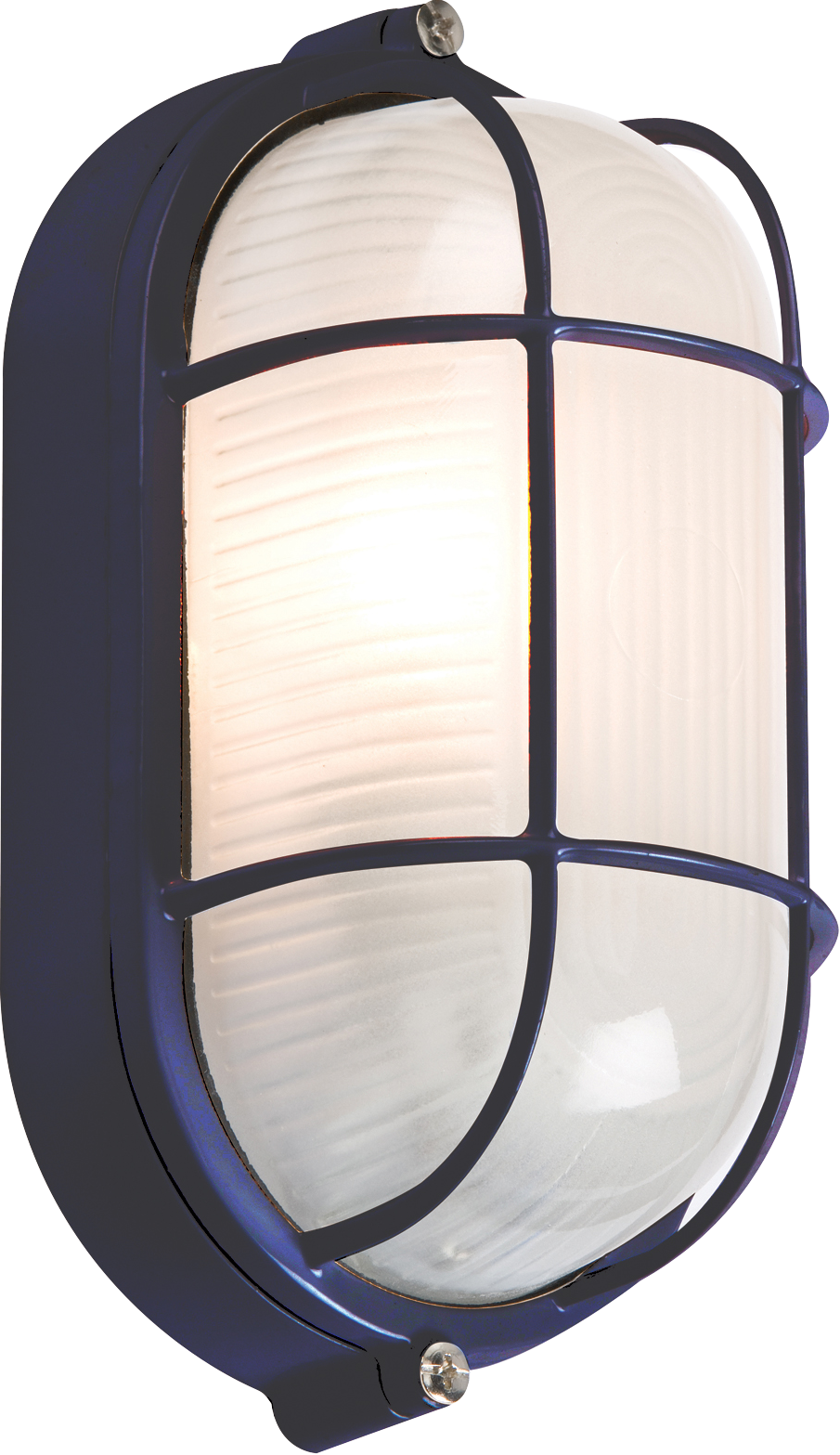 230V IP54 60W Black Oval Bulkhead with wire Guard and Glass Diffuser