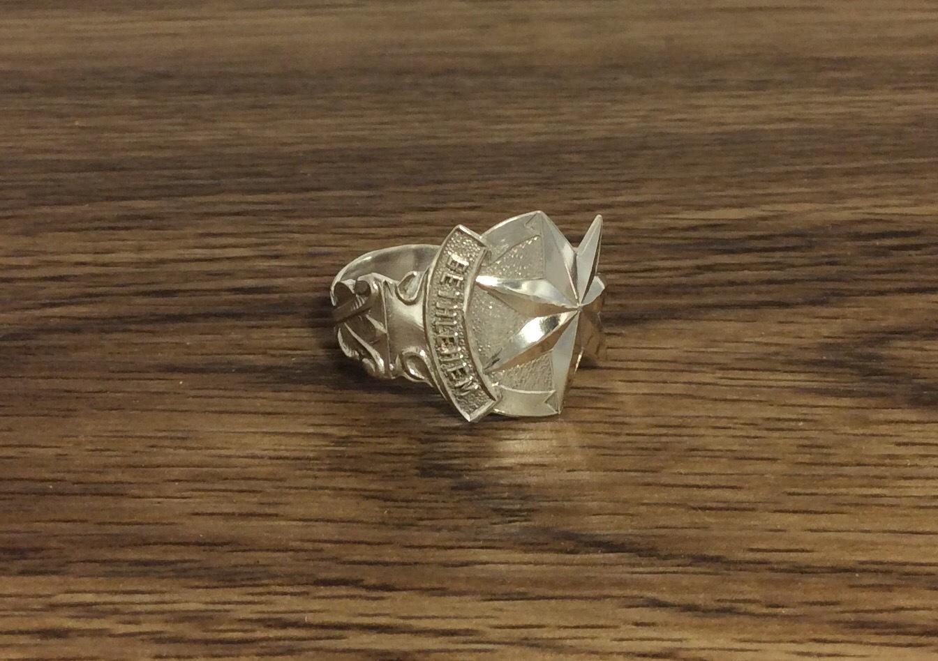 Vintage Sterling Silver Bethlehem Spoon Ring - Size Z