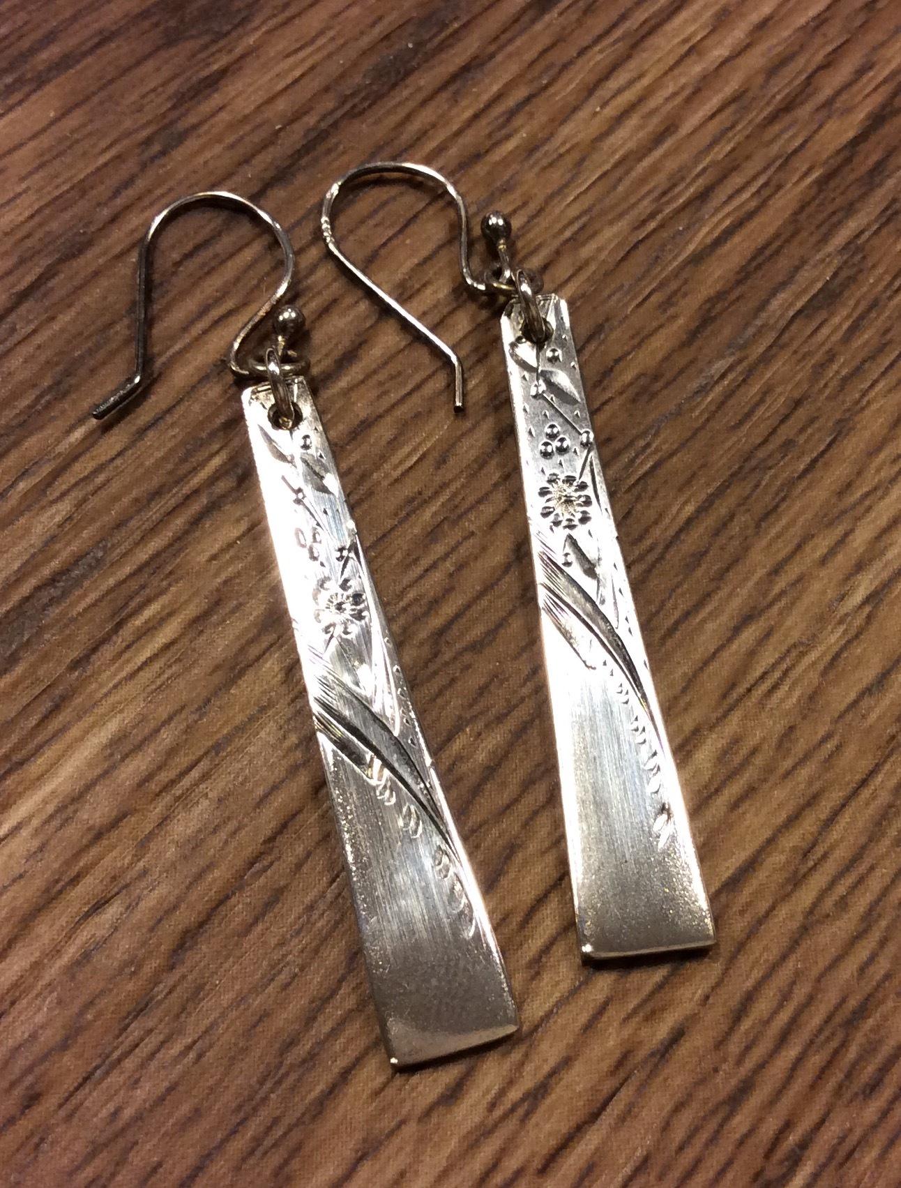 Floral engraved sterling silver earrings