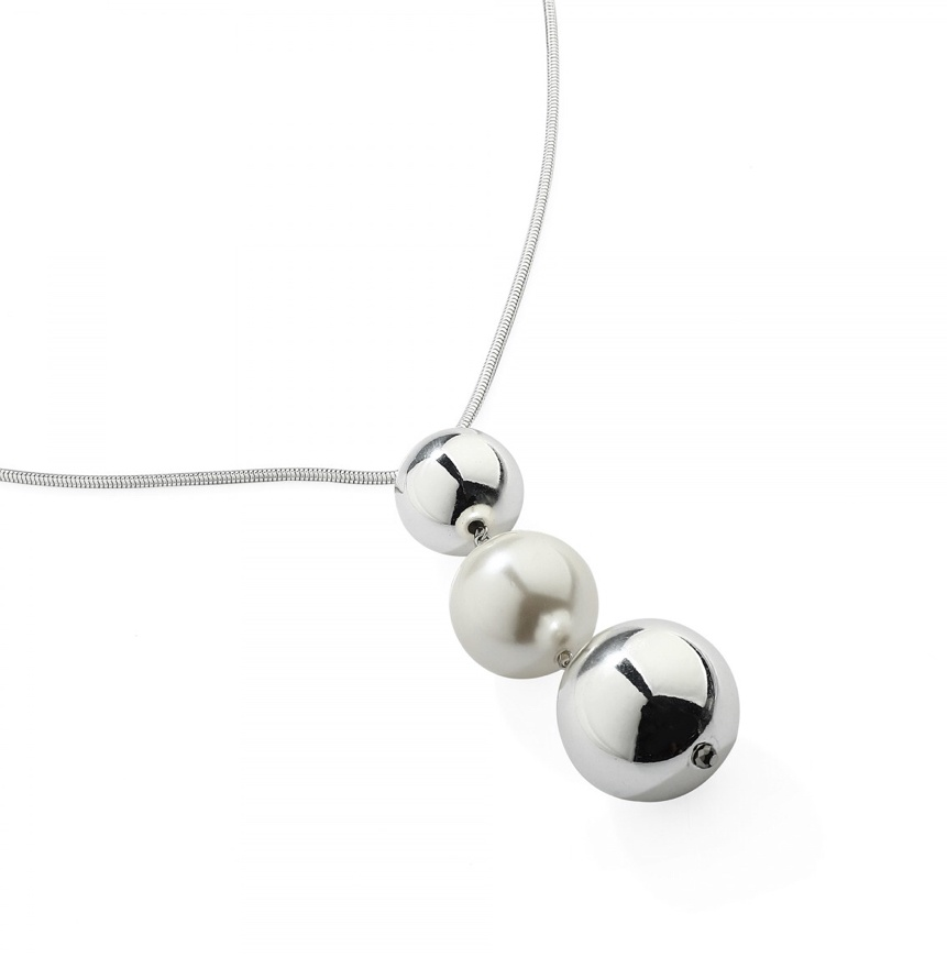 Descending Ball & Pearl Long Silver Necklace