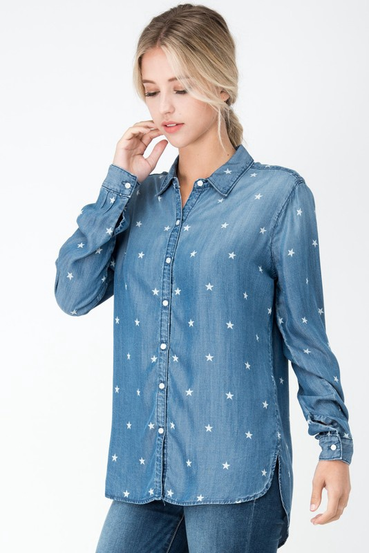 Denim Button Up Shirt w White Stars
