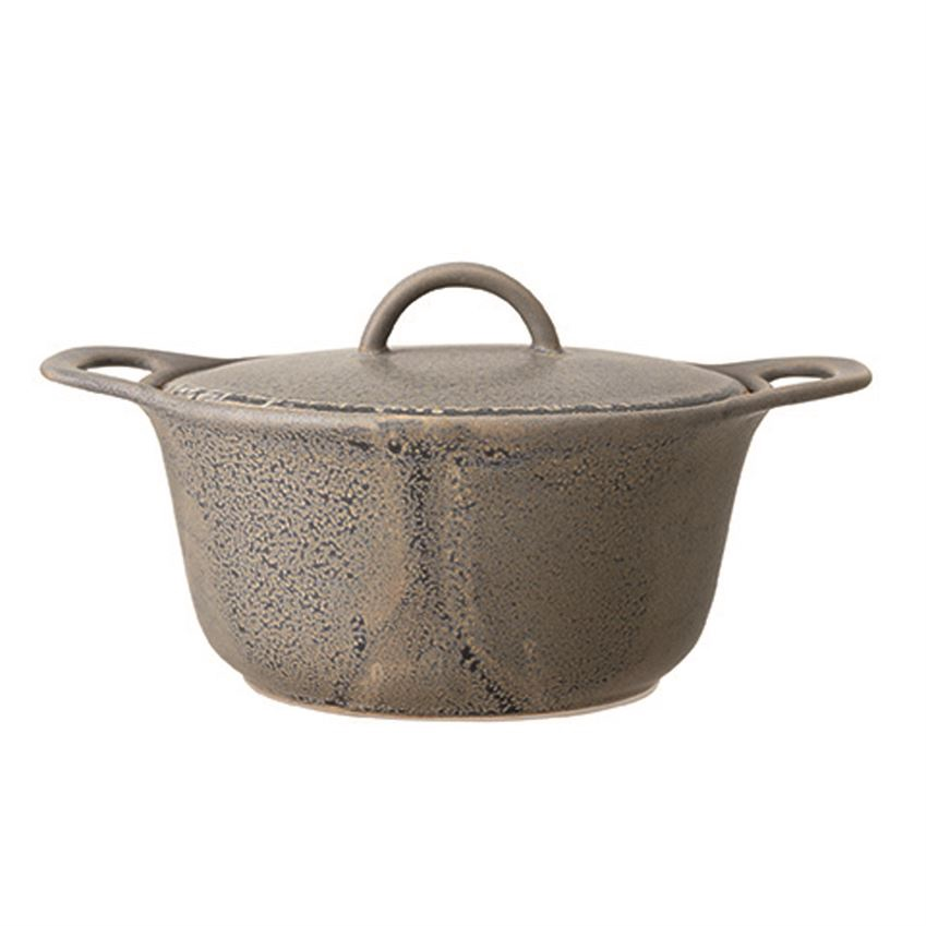 Matte Grey Speckled Stoneware Baking Dish with Lid