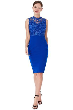 Short Dress - Royal Blue Floral Lace Bodice Midi Dress, NEW