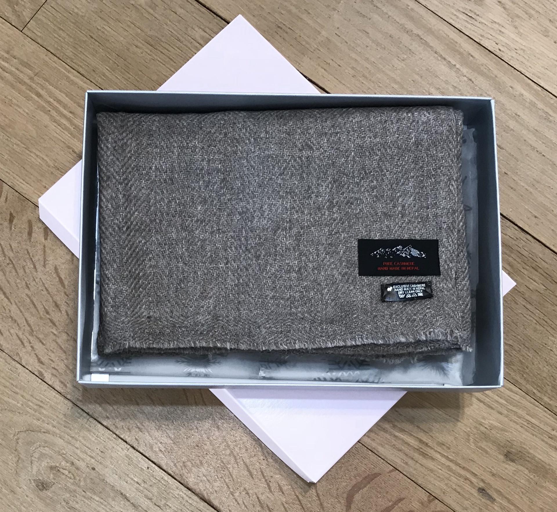 Fine Herringbone Pure Cashmere Scarf