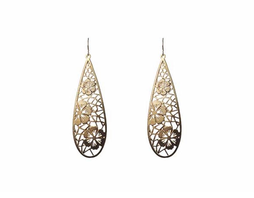 Large teardrop geo flower earrings