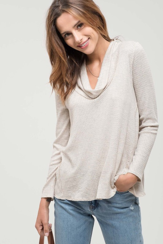 Natural Waffle Cowl Neck L/S Top