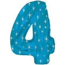 NUMBER 4 BLUE 43 INCH FOIL BALLOON