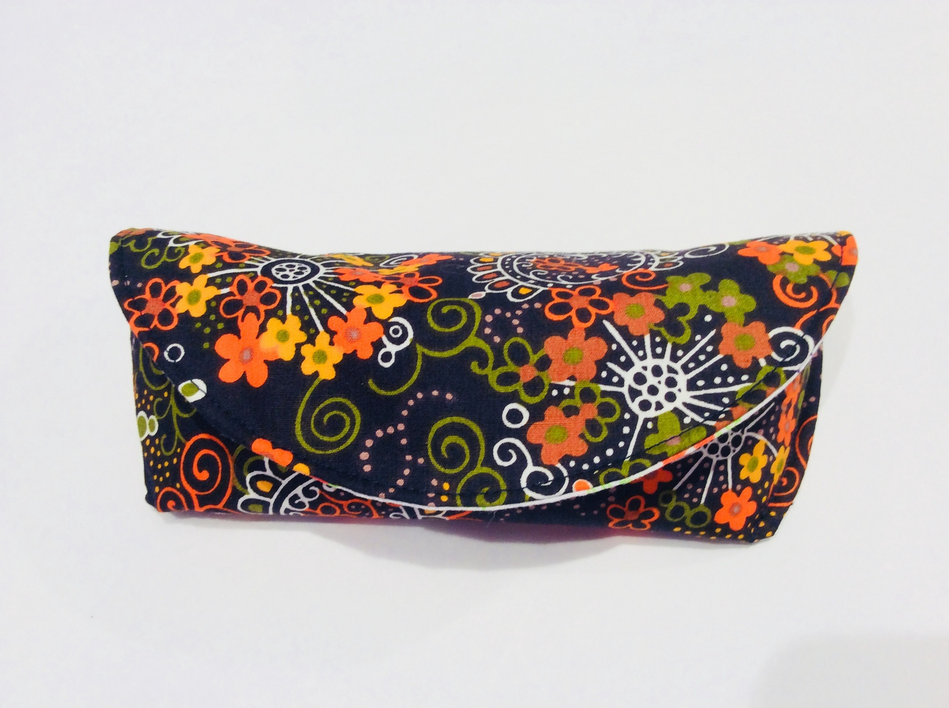 Funky Vintage Fabric Glasses Case - Orange Flowers