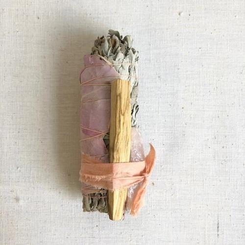 Large Rose and Rose Quartz Smudge Stick