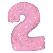 NUMBER 2 PINK 43 INCH FOIL BALLOON