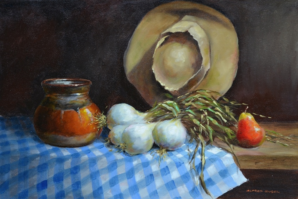 White Onions Oil Painting by Alfred Engel 790mm x 590mm