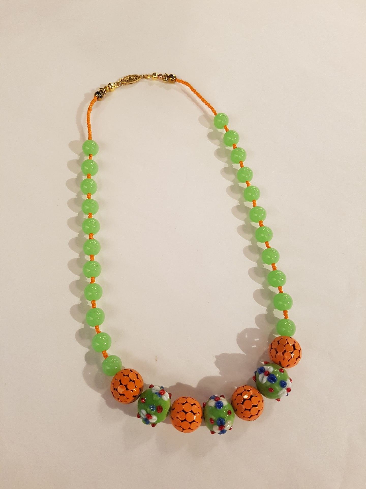 Green and Orange Beaded Necklace