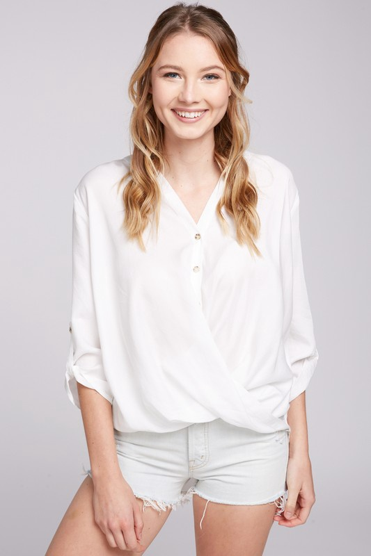 White Button Up Top w Tuck Front