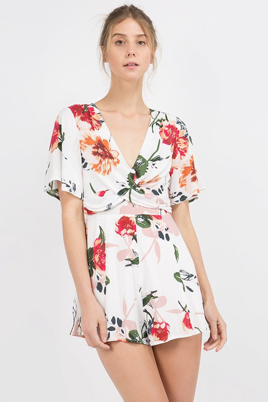 Cream/Pink Floral S/S Romper w Cross Chest