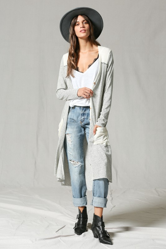 Cream/Grey Striped Duster w Buttons Up Front