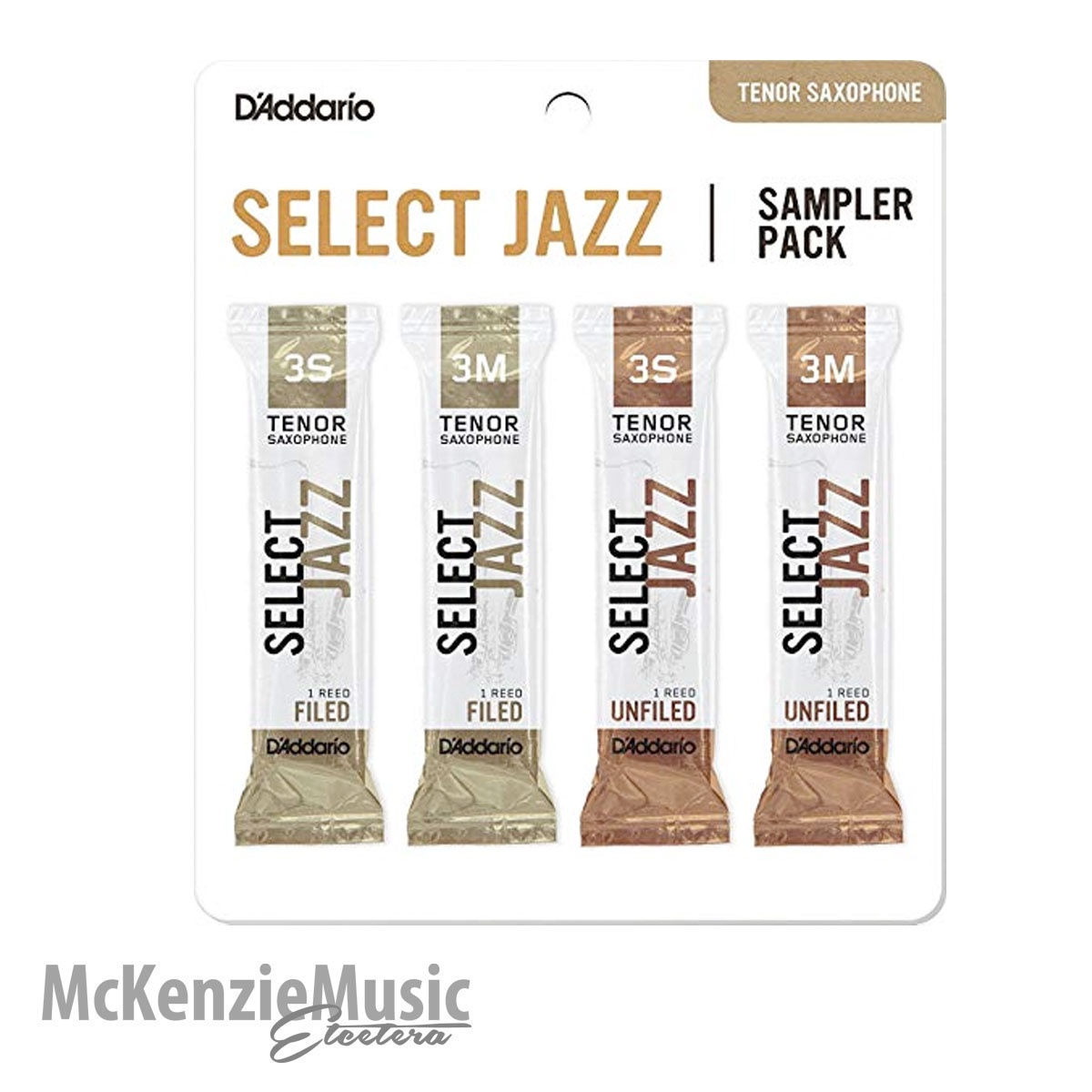 D'Addario Select Jazz Tenor Sax Reed Sample Pack Size 3
