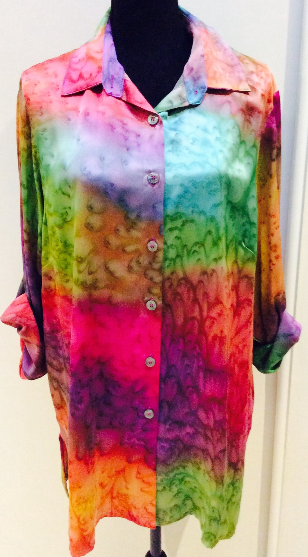 Hand Painted Pure Silk Shirt with adjustable sleeves - L
