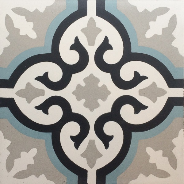 Handmade Tile | Grey Black Blue Mediterranean Ornaments