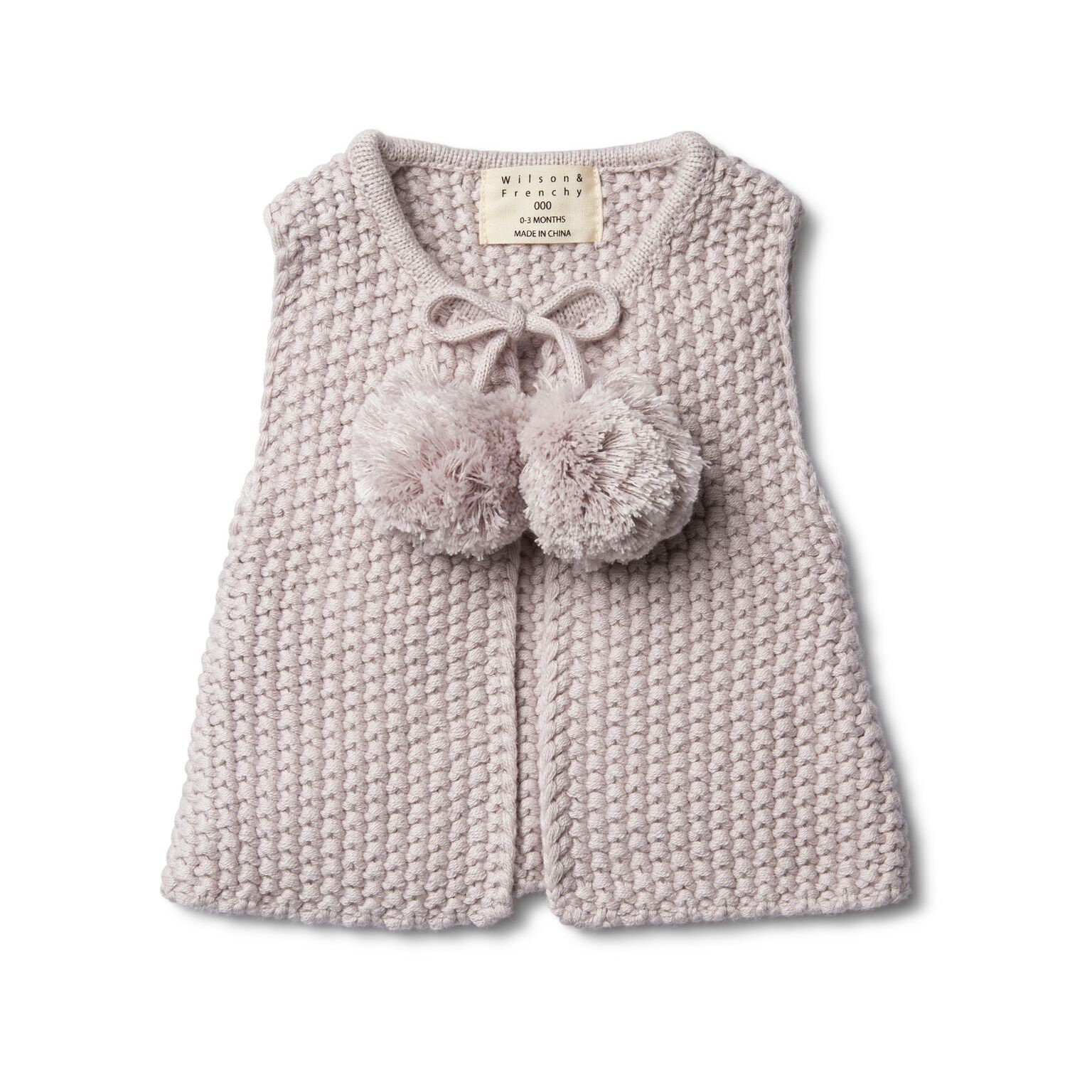 WF Fawn Knitted vest with pom poms