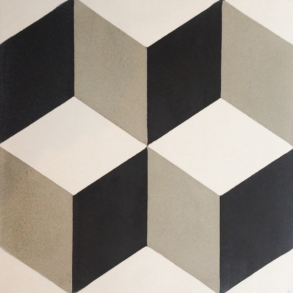 Handmade Tile | 3D Black Grey Blocks