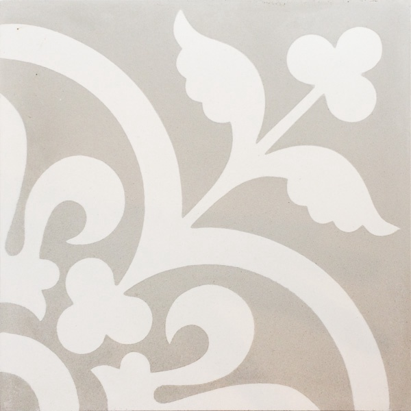 Handmade Tile | Light Grey Flower Ornaments