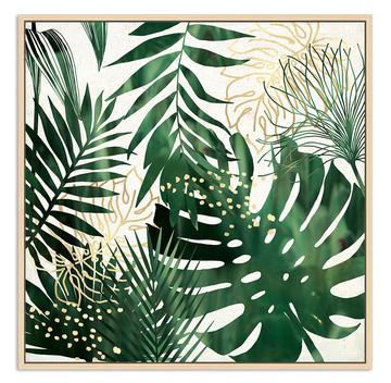 Green and gold palms canvas