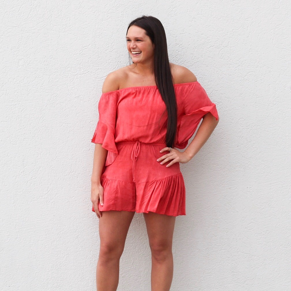 Coral Washed OTS Romper