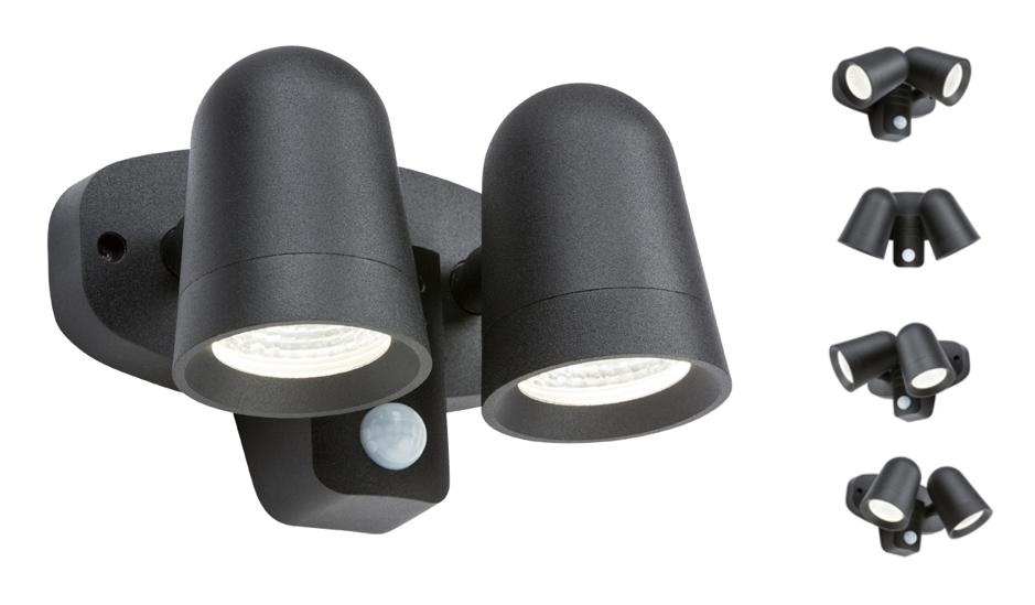 230V IP65 18W LED Black Twin Spot Floodlight with PIR