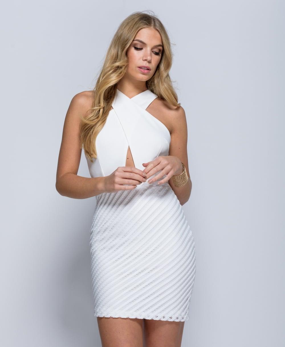 White wrap short dress