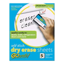 GOWRITE SELF-STICK DRY ERASE SHEETS 5
